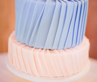 Pleated Peach and Lavender Cake