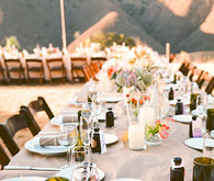 mountain-view tablescape with green water glasses