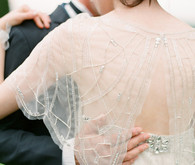 Jenny Packham Sheer Jeweled Butterfly Sleeve Back