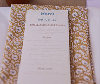 Mustard Floral Napkin with Menu