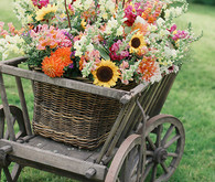 Wooden Cart of Colorful Blooms