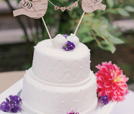 White and Purple Cake with Bird Cake Topper