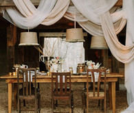 winter draped fabric reception