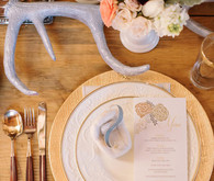 gold rustic winter place setting