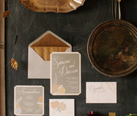 gold rustic winter wedding invitations