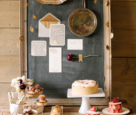 rustic chalkboard stationery and dessert table