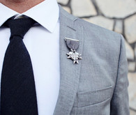 grooms' gray pin by love medals