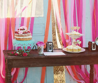 Pink and Blue Bohemian Dessert Table