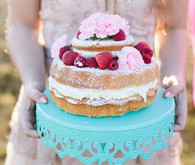 Pink Berry Cake on a Blue Cake Stand