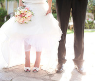 Classic California Garden Estate Wedding Couple Shoes