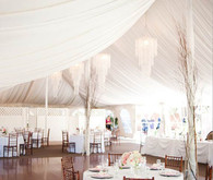 Garden Estate Tent with Chandeliers and Wood Chairs