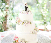 Classic Three-Tier White Cake with Pink Roses