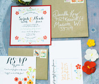 Summer Red and Orange Floral Wedding Invitations