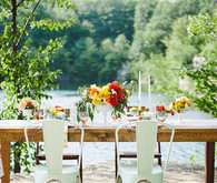 Summer Vintage Red and Yellow Reception Decor