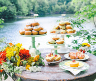 Mini Donuts and Treats by the Water on Cake Stands