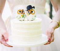 White Icing Cake with Painted Owl Cake Toppers