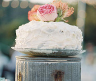 Simple Whipped Cake on Tin Cake Stand