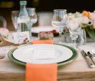 Peach Napkin and Sage Charger