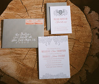 Peach and Gray Rustic Wedding Stationery