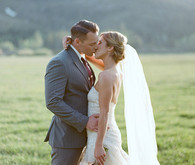 Vera Wang Gown and Gray Hugo Boss Suit
