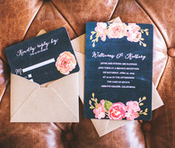 Chalkboard Pink Floral Wedding Invitations