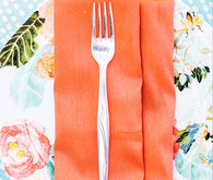 Orange Napkin on Floral Anthropologie Plate