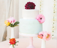 Aqua and White Cake with Red and Pink Dahlias