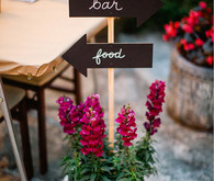 Potted Stock Bar and Food Chalkboard Directional Signs