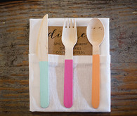 Paint-Dipped Wood Cutlery and Kraft Menu