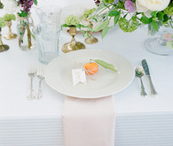 Light Blue and White Pin-Striped Linen with Blush Napkin