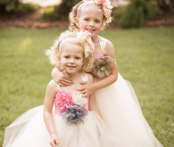 Tulle Flower Girl Dresses with Fabric Flowers