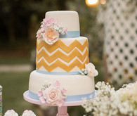 Yellow Chevron and Blue Ribbon Cake