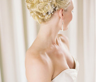 Watters Lasara Strapless Gown and Braided Updo