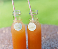 Glass Juices with Striped Straw and Wedding Tag