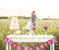 Love Is Sweet Purple and Yellow Bunting