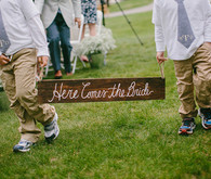 Wood Plank Here Comes the Bride Sign