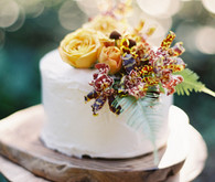 Rustic Fall wedding cake with floral topper