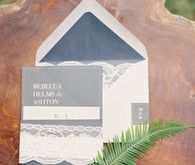 Blue and white wedding invitation