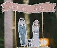 Whimsical Palm Springs Wedding Cake Toppers