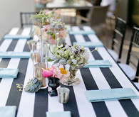 Palm Springs Wedding Black and White Striped Tablescape
