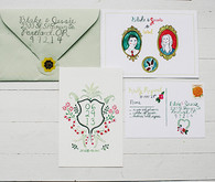 Summery Woodstock farm wedding invitation