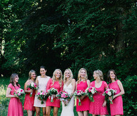Bridesmaid in bright pink dresses