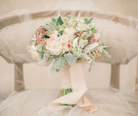 Soft Peach Bouquet with Veil