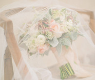 Soft Peach Wedding Florals with Veil