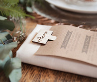 Organic menu with wooden place card