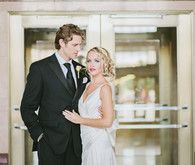 Black & gold wedding portrait