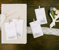 Cream and white escort cards