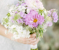 Lavender farm wedding inspired bride with purple bouquet