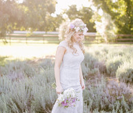 Lavender farm inspiration bride during sunset