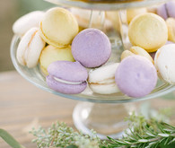 Purple and yellow macaroons